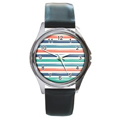 Summer Mood Striped Pattern Round Metal Watch