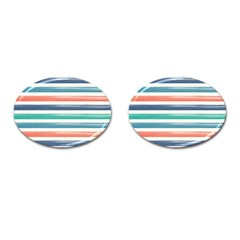 Summer Mood Striped Pattern Cufflinks (oval)