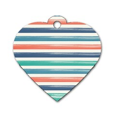 Summer Mood Striped Pattern Dog Tag Heart (one Side) by DanaeStudio