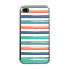 Summer Mood Striped Pattern Apple Iphone 4 Case (clear) by DanaeStudio