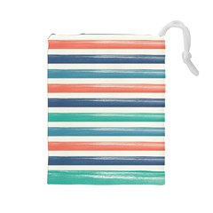 Summer Mood Striped Pattern Drawstring Pouches (large)  by DanaeStudio