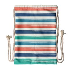 Summer Mood Striped Pattern Drawstring Bag (large)