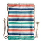 Summer Mood Striped Pattern Drawstring Bag (Large) Back