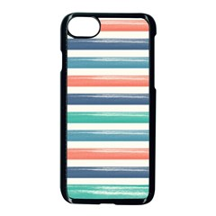 Summer Mood Striped Pattern Apple Iphone 7 Seamless Case (black) by DanaeStudio