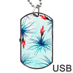 Tillansia Flowers Pattern Dog Tag Usb Flash (two Sides)  by DanaeStudio