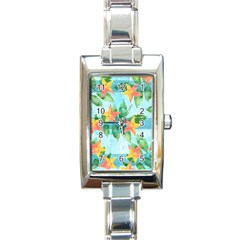 Tropical Starfruit Pattern Rectangle Italian Charm Watch by DanaeStudio