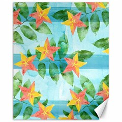 Tropical Starfruit Pattern Canvas 11  X 14   by DanaeStudio