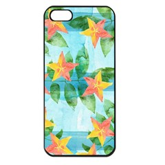 Tropical Starfruit Pattern Apple Iphone 5 Seamless Case (black)