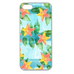 Tropical Starfruit Pattern Apple Seamless Iphone 5 Case (clear) by DanaeStudio