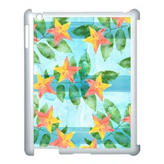Tropical Starfruit Pattern Apple Ipad 3/4 Case (white) by DanaeStudio