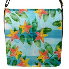 Tropical Starfruit Pattern Flap Messenger Bag (s) by DanaeStudio