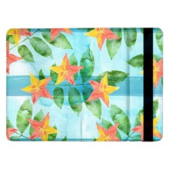 Tropical Starfruit Pattern Samsung Galaxy Tab Pro 12 2  Flip Case by DanaeStudio