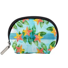 Tropical Starfruit Pattern Accessory Pouches (small)  by DanaeStudio