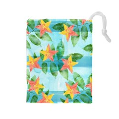 Tropical Starfruit Pattern Drawstring Pouches (large)  by DanaeStudio
