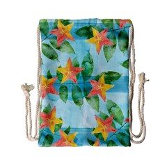 Tropical Starfruit Pattern Drawstring Bag (small) by DanaeStudio
