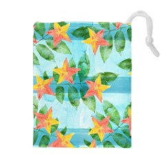 Tropical Starfruit Pattern Drawstring Pouches (extra Large) by DanaeStudio