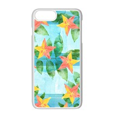 Tropical Starfruit Pattern Apple Iphone 7 Plus White Seamless Case