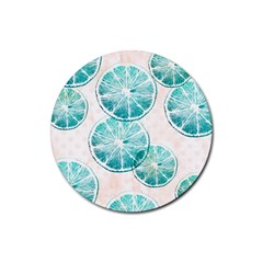 Turquoise Citrus And Dots Rubber Round Coaster (4 Pack)  by DanaeStudio