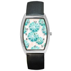 Turquoise Citrus And Dots Barrel Style Metal Watch by DanaeStudio