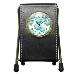 Turquoise Citrus And Dots Pen Holder Desk Clocks