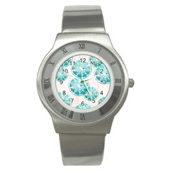 Turquoise Citrus And Dots Stainless Steel Watch by DanaeStudio