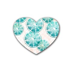 Turquoise Citrus And Dots Heart Coaster (4 Pack)  by DanaeStudio