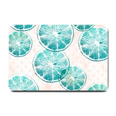 Turquoise Citrus And Dots Small Doormat  by DanaeStudio