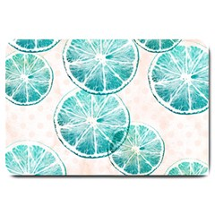 Turquoise Citrus And Dots Large Doormat  by DanaeStudio