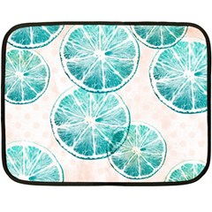 Turquoise Citrus And Dots Double Sided Fleece Blanket (mini)  by DanaeStudio