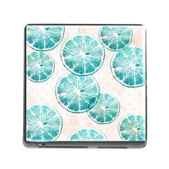 Turquoise Citrus And Dots Memory Card Reader (square) by DanaeStudio