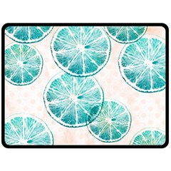 Turquoise Citrus And Dots Fleece Blanket (large)  by DanaeStudio