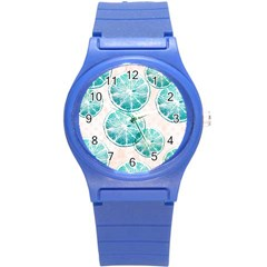 Turquoise Citrus And Dots Round Plastic Sport Watch (s) by DanaeStudio