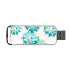 Turquoise Citrus And Dots Portable Usb Flash (two Sides) by DanaeStudio