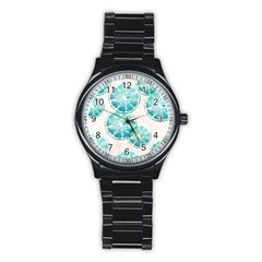 Turquoise Citrus And Dots Stainless Steel Round Watch by DanaeStudio