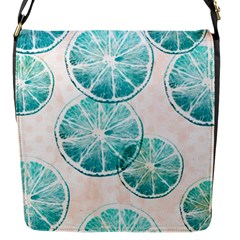 Turquoise Citrus And Dots Flap Messenger Bag (s) by DanaeStudio