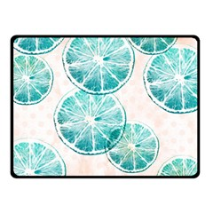 Turquoise Citrus And Dots Double Sided Fleece Blanket (small)