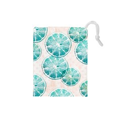 Turquoise Citrus And Dots Drawstring Pouches (small)