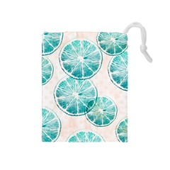 Turquoise Citrus And Dots Drawstring Pouches (medium)