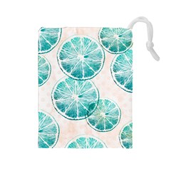 Turquoise Citrus And Dots Drawstring Pouches (large)  by DanaeStudio