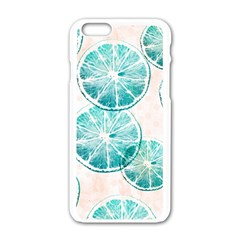 Turquoise Citrus And Dots Apple Iphone 6/6s White Enamel Case