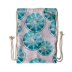 Turquoise Citrus And Dots Drawstring Bag (small) by DanaeStudio