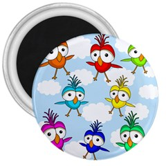 Cute Colorful Birds  3  Magnets