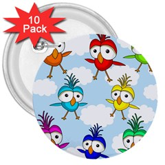 Cute Colorful Birds  3  Buttons (10 Pack)  by Valentinaart