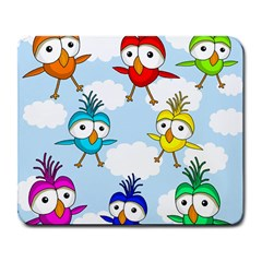 Cute Colorful Birds  Large Mousepads by Valentinaart