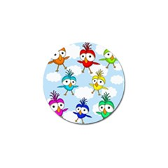 Cute Colorful Birds  Golf Ball Marker (4 Pack) by Valentinaart