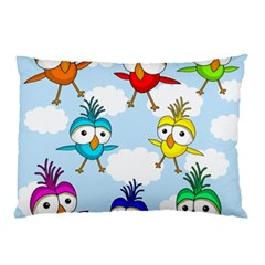 Cute Colorful Birds  Pillow Case by Valentinaart