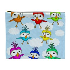 Cute Colorful Birds  Cosmetic Bag (xl)