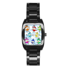 Cute Colorful Birds  Stainless Steel Barrel Watch by Valentinaart