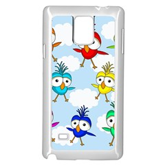 Cute Colorful Birds  Samsung Galaxy Note 4 Case (white)