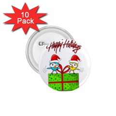 Cute Xmas Birds 1 75  Buttons (10 Pack) by Valentinaart